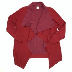 Cabi | Draped Open Front Maroon Cardigan Size XL